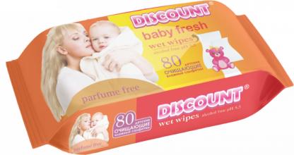 DISCOUNT Baby fresh С экстрактом календулы и витамином Е детские влажные Салфетки 80 шт