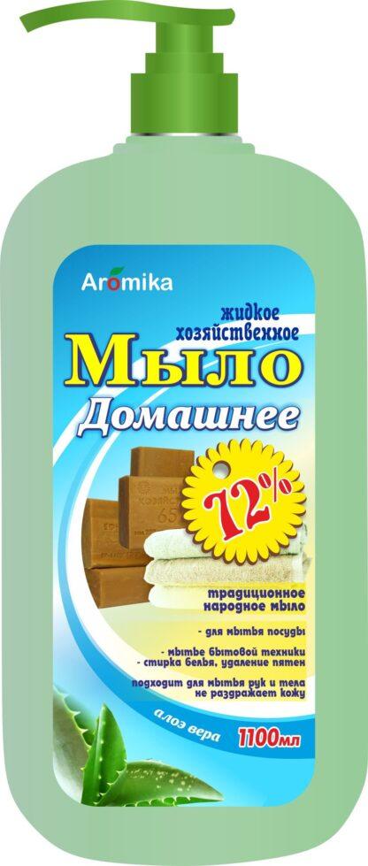 Aromika 72% алоэ Хозяйственное с дозатором жидкое мыло 1100 л