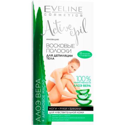 Eveline Cosmetics Алоэ Вера + Аргановое масло Восковые полоски для депиляции тела 12 полосок
