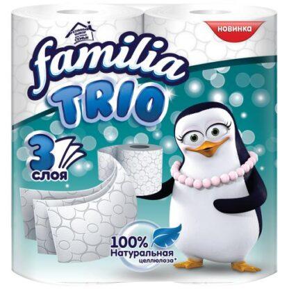 Familia Trio 3-х слойная Туалетная бумага 4 рулона