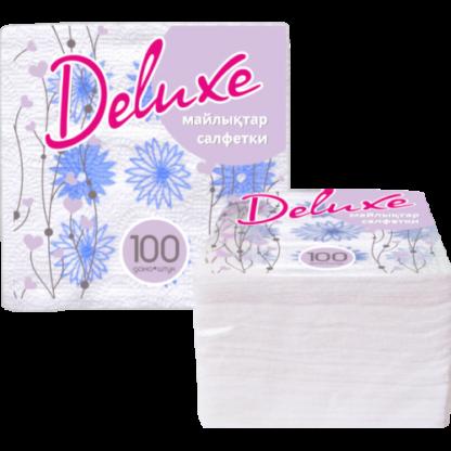 DeLuxe Салфетки бумажные ромашки 100 шт