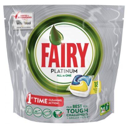 Fairy Platinum All in One Lemon средство для мытья посуды в посудомоечных машинах в капсулах 18 шт