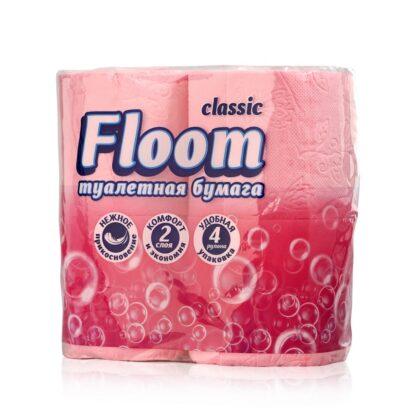 Floom Classic Розовая 2-х слойная туалетная Бумага 4 рулона