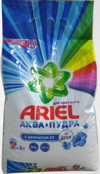 ARIEL Аква - Пудра для цветного с ароматом от Lenor автомат Порошок 3 кг