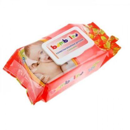 Bambolina с клапаном детские влажные салфетки 0 + 120 шт