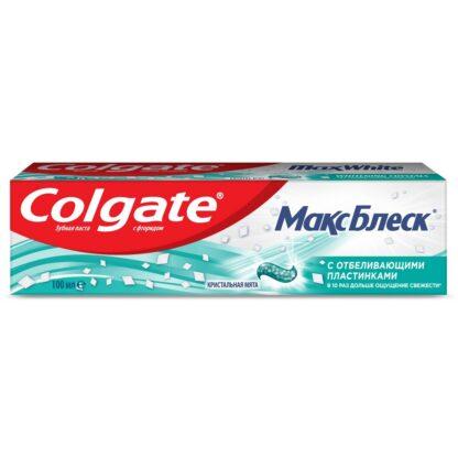 Colgate Максблеск с отбеливающими пластинками Кристальная мята Зубная паста 100 мл