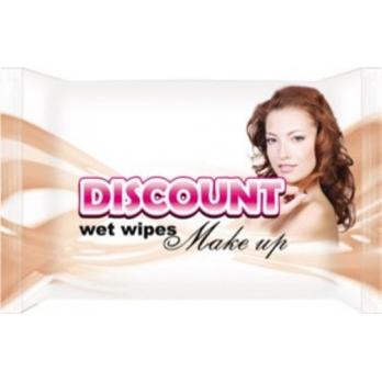 DISCOUNT  салфетки влажные для снятия макияжа 20 шт