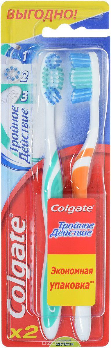 Colgate Тройное действие средней жесткости Зубная щетка 1+1 шт