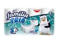 Familia Trio 3-х слойная Туалетная бумага 8 рулонов