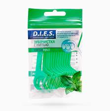 D.I.E.S Мята одноразовая пластиковая зубочистка с нитью 15 шт