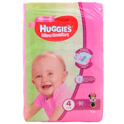 Huggies Ultra comfort подгузники для девочек 4 (8-14 кг) 80 шт