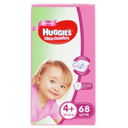 Huggies Ultra comfort подгузники для девочек 4+ (10-16 кг) 68 шт