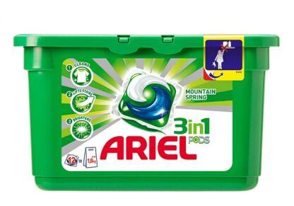 ARIEL Горный родник средство жидкое в растворимых капсулах для стирки белья 12 шт