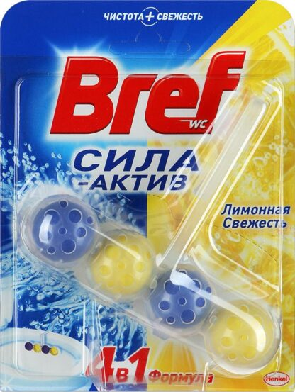 Bref Сила-актив лимонная свежесть Чистящее средство для унитаза 50 г