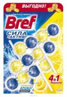 Bref Сила-Актив лимонная свежесть Чистящее средство для унитаза 3*50 г