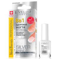 Eveline укрепление и цвет 8 в 1 с микрочастицами серебра Препарат для регенирации ногтей 12мл