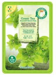 BeauuGreen tea с экстрактом зеленого чая Тканевая Маска для лица