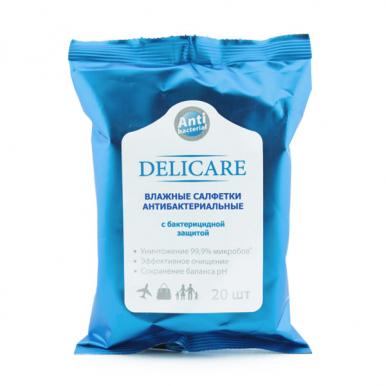 Delicare антибактериальные влажные салфетки 20 шт
