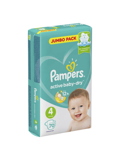 Pampers active baby-dry подгузники 4 (9-14 кг) 70 шт