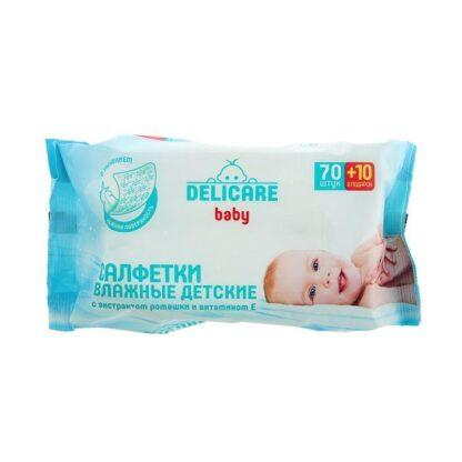 Delicare С экстрактом ромашки и витам Е детские влажные салфетки 80 шт