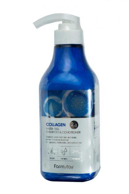 Farm Stay Collagen water full Увлажняющий с коллагеном Шампунь - кондиционер 530 мл