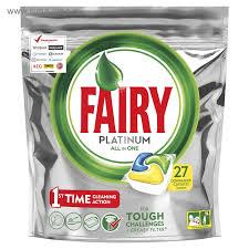 Fairy Platinum All in One Lemon средство для мытья посуды в посудомоечных машинах в капсулах 27  шт