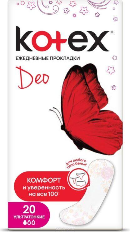 Kotex Deo ультратонкие ежедневные Прокладки 20 шт