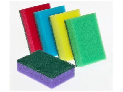 EcoLuxe Губка для мытья посуды с абразивным слоем 5 шт