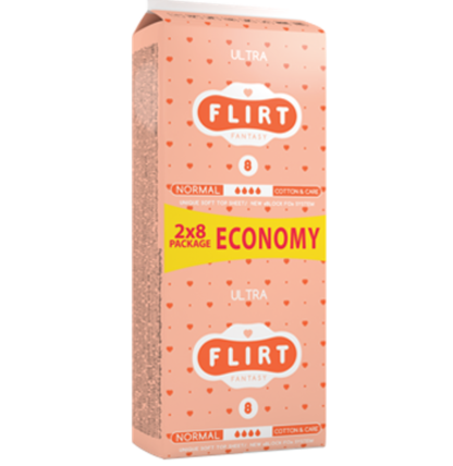 Flirt Ultra Cotton&Care normal 4 капли Прокладки 16 шт
