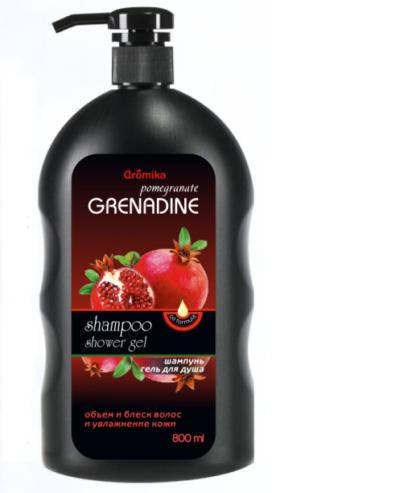 Aromika Гранат и гренадин 2 в 1 шампунь и гель для душа 800 мл
